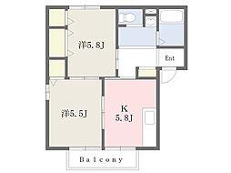 ハイツ・ムズィークB[2階]の外観