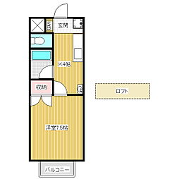 ハイツAlba B[2階]の間取り