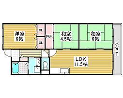 エクシード上野芝[4階]の間取り