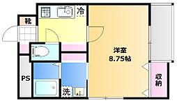 岡山電気軌道清輝橋線 清輝橋駅 徒歩5分の賃貸アパート 1階1Kの間取り