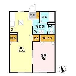 福志荘A[101号室]の間取り