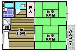 グランデール栃尾A棟 2階2DKの間取り