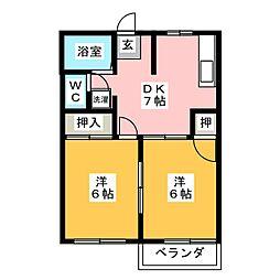クレール恵那B[2階]の間取り