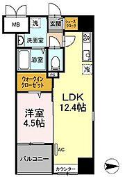 都営浅草線 蔵前駅 徒歩4分の賃貸マンション 7階1LDKの間取り