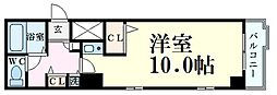 プレサンス梅田西 8階1Kの間取り