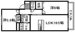 シャーメゾン泉陽B棟[2階]の間取り