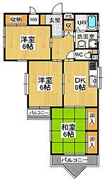 大阪府東大阪市新庄3丁目の賃貸マンションの間取り