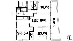 兵庫県宝塚市大吹町の賃貸マンションの間取り