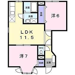 神奈川県厚木市温水西1丁目の賃貸アパートの間取り