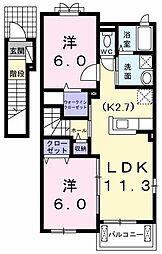 東京都東大和市奈良橋5丁目の賃貸アパートの間取り