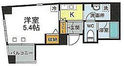 JR山手線 西日暮里駅 徒歩9分の賃貸マンション 6階1Kの間取り