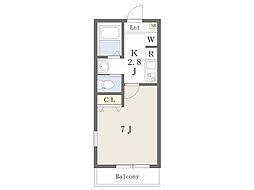 JR川越線 南古谷駅 徒歩6分の賃貸アパート 3階1Kの間取り
