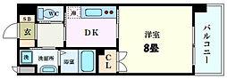 JR山陽本線 広島駅 徒歩8分の賃貸マンション 8階1Kの間取り
