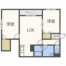 北海道札幌市西区発寒十二条4丁目の賃貸アパートの間取り