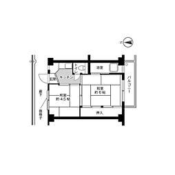 ビレッジハウス久保2号棟4階Fの間取り画像