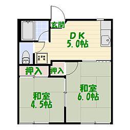 東京都葛飾区柴又4丁目の賃貸アパートの間取り