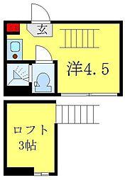 都営三田線 西巣鴨駅 徒歩8分の賃貸アパート 2階ワンルームの間取り