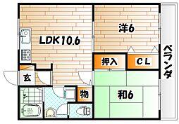 福岡県北九州市小倉南区南方4丁目の賃貸マンションの間取り