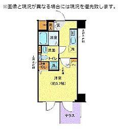 JR横須賀線 西大井駅 徒歩6分の賃貸マンション 1階1Kの間取り