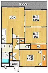 福々邸弐番館[6階]の間取り