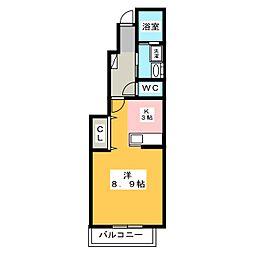 プラシード・KII B[1階]の間取り
