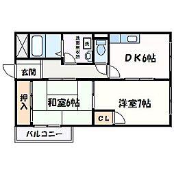 ディアコート六甲 1階2DKの間取り