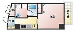 OAZO千里丘マンション 8階1Kの間取り