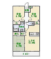 ウルーファミーユ[0102号室]の間取り