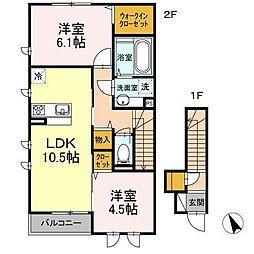 D-room南大泉B[2階]の間取り