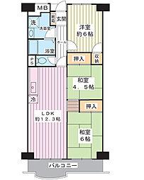 サンコーポ浦安 E棟[6階]の間取り