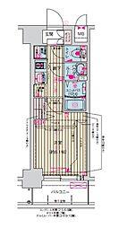 プレサンス天神橋筋六丁目ヴォワール 9階1Kの間取り
