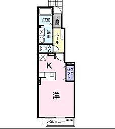 広島県福山市坪生町の賃貸アパートの間取り