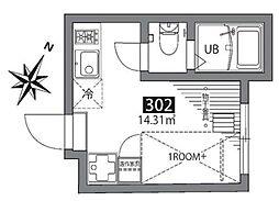京王線 初台駅 徒歩5分の賃貸アパート 3階ワンルームの間取り