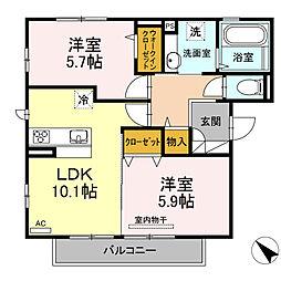 D-room可部3丁目B棟[201号室]の間取り