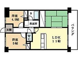 ユニライフ新田辺(分譲賃貸)[5階]の間取り