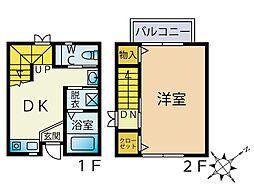福岡県福岡市中央区輝国1丁目の賃貸アパートの間取り