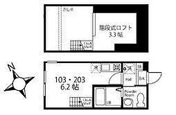 ハーミットクラブハウス弘明寺IV(仮) 2階ワンルームの間取り