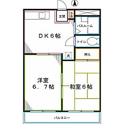 JR中央本線 西国分寺駅 徒歩12分の賃貸マンション 4階2DKの間取り