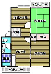 大阪府大阪狭山市狭山3丁目の賃貸アパートの間取り