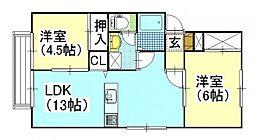 アイボリーハイツB棟[1階]の間取り