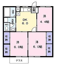 紫雲荘I[102号室]の間取り