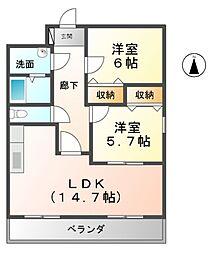 愛知県清須市西枇杷島町古城2の賃貸マンションの間取り
