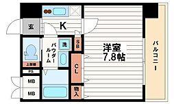 ミラージュパレス難波東レジデンス 13階1Kの間取り