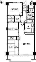 ロイヤルレインボー小牧II 203号室[203号室]の間取り