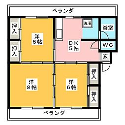 錦レジデンス[2階]の間取り
