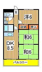 千葉県流山市富士見台2丁目の賃貸マンションの間取り
