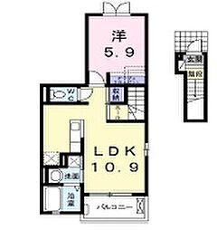 東京都東久留米市下里3丁目の賃貸アパートの間取り