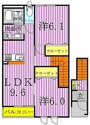 千葉県野田市つつみ野2丁目の賃貸アパートの間取り