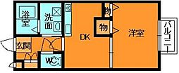 奈良県香芝市狐井の賃貸アパートの間取り