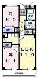 大阪府高石市取石4丁目の賃貸マンションの間取り